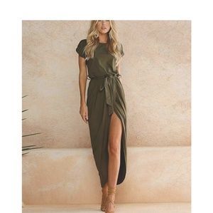 Dresses & Skirts - Army Green Belted Maxi Dress